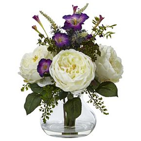 nearly natural Artificial Rose & Morning Glory Arrangement