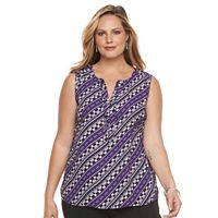 Plus Size Dana Buchman Crepe Sleeveless Blouse