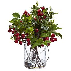 nearly natural Artificial Berry Boxwood Arrangement
