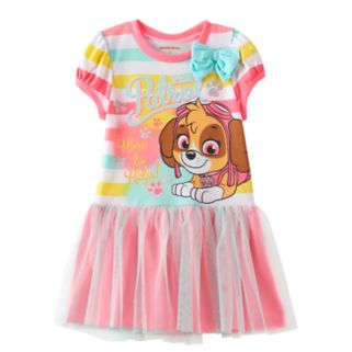 "Toddler Girl Paw Patrol Skye ""Here to Help"" Striped Tutu Skirt Dress"