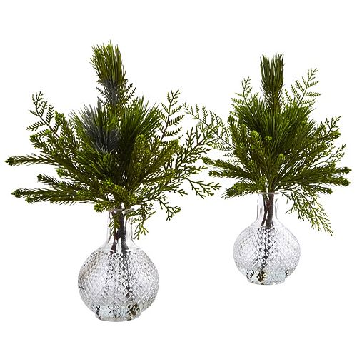 nearly natural Artificial Mixed Pine Arrangement 2-piece Set