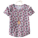 Girls 7-16 & Plus Size Self Esteem Patterned Cold Shoulder Top with Necklace