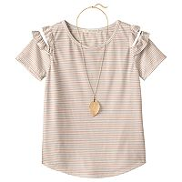 Girls 7-16 & Plus Size Self Esteem Patterned Cold Shoulder Top with Necklace