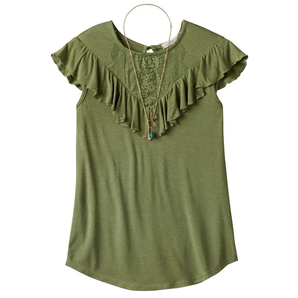 Girls 7-16 & Plus Size Self Esteem Crochet Lace Flounce Overlay Top with Necklace