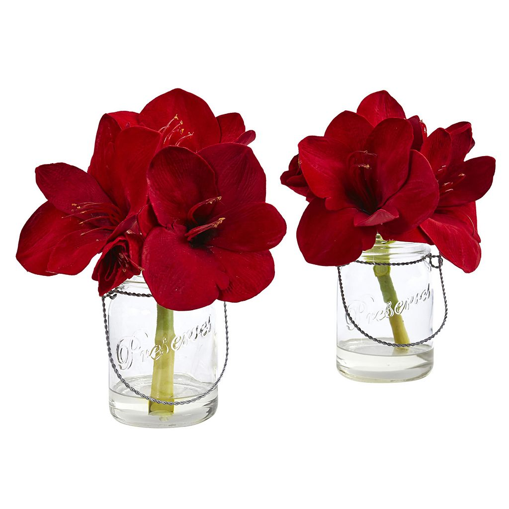 nearly natural Artificial Amaryllis Arrangement 2-piece Set