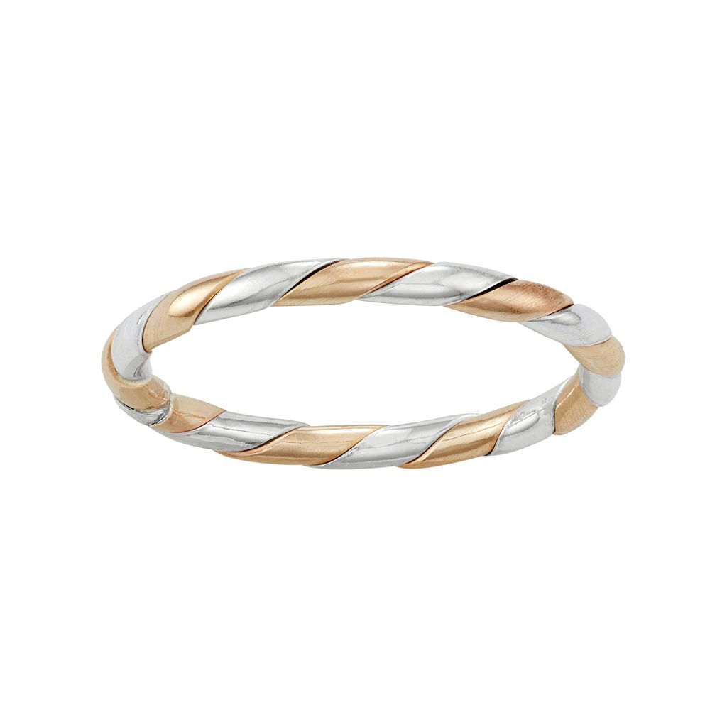 Journee Collection Two Tone Sterling Silver Ring