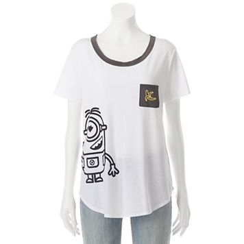 Juniors' Despicable Me Minion Banana Pocket Graphic Tee