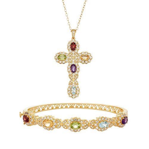 18k Gold Plated Gemstone Cross Pendant & Bangle Bracelet Set
