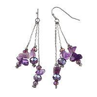 Purple Bead & Simulated Stone Nickel Free Linear Drop Earrings