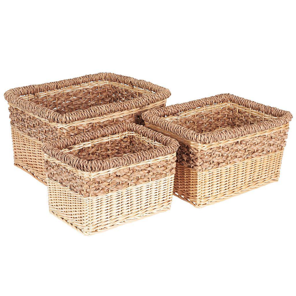 Household Essentials 3-piece Starling Decorative Wicker Storage Basket Set