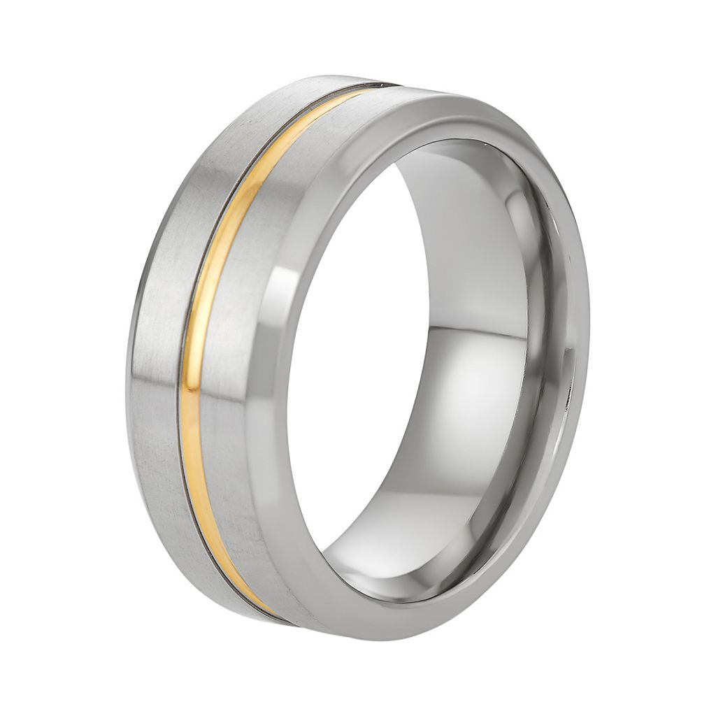 Territory Two Tone Titanium Men's Striped Wedding Band