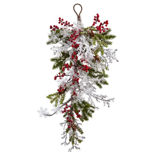 nearly natural Artificial Berry, Pine & Snowflake Wall Decor