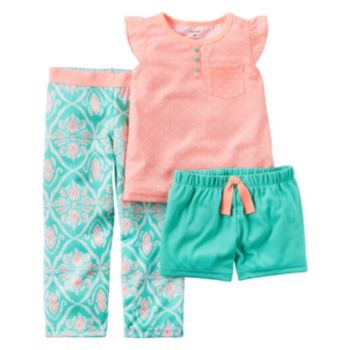 Girls 4-14 Carter's Coral Geometric Pajama Set