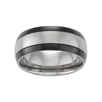 Territory Two Tone Titanium Men's Grooved Wedding Band