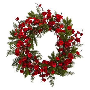 nearly natural Artificial Plum Blossom Pine Wreath