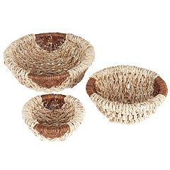 Household Essentials 3 pc Harvest Round Wicker Bowl Set