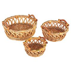 Household Essentials 3 pc Robin Decorative Wicker Basket Set