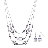 Purple Bead Layered Necklace & Drop Earring Set