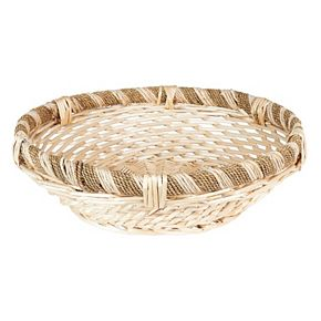 Household Essentials Large Decorative Round Rope & Willow Basket
