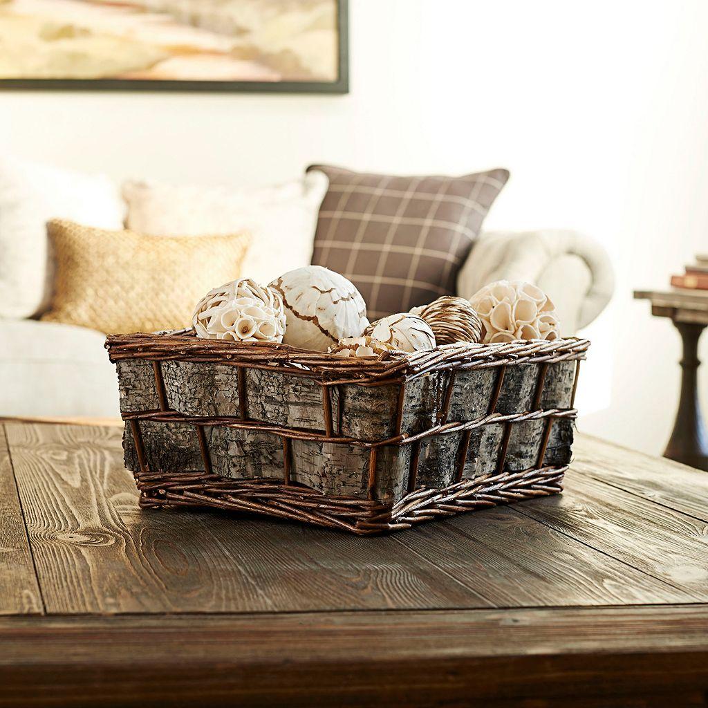 Household Essentials Birch Bark Decorative Wicker Basket