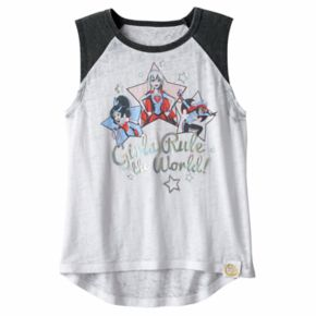 "Girls 7-16 DC Comics Super Hero Girls ""Girls Rule the World"" Supergirl, Wonder Woman & Batgirl Burnout Tee"