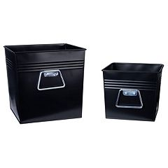 Household Essentials 2 pc Decorative Metal Bin Set