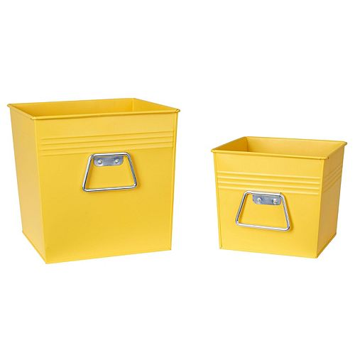 Household Essentials 2-piece Decorative Metal Bin Set