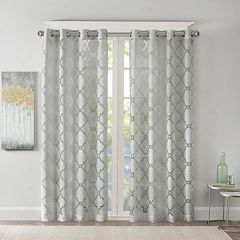 Madison Park 1-Panel Laya Fretwork Sheer Window Curtain