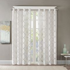 Madison Park 1-Panel Laya Fretwork Sheer Window Curtain