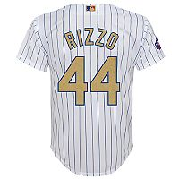 Boys 8-20 Majestic Chicago Cubs Anthony Rizzo 2016 World Series Champions Gold Program Cool Base Replica Jersey