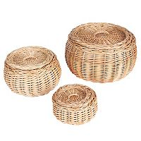 Household Essentials 3-piece Vanity Round Willow Storage Basket Set