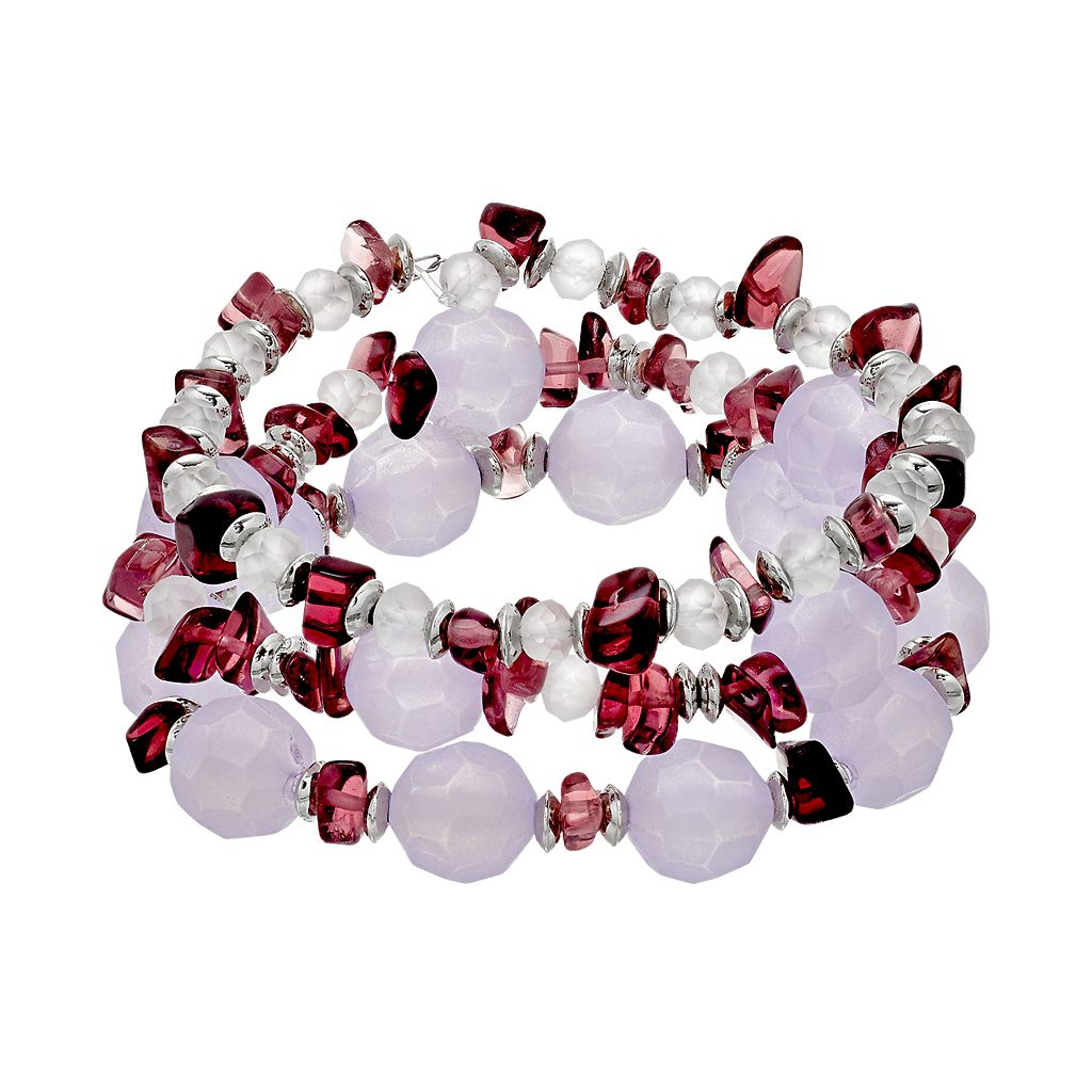 Purple Composite Shell Beaded Stretch Bracelet Set