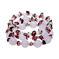 Purple Composite Shell Beaded Stretch Bracelet Set