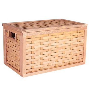 Household Essentials Poplar Wicker Storage Chest