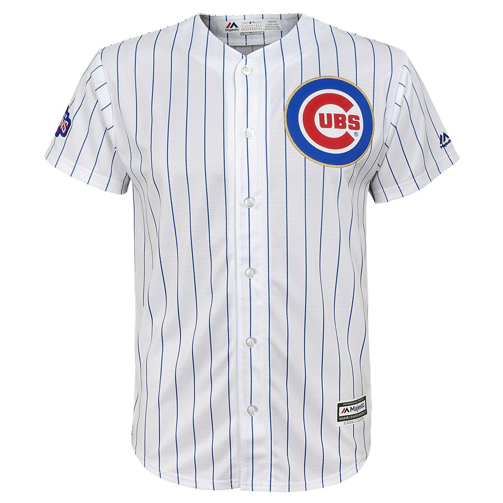 Boys 8-20 Majestic Chicago Cubs Kris Bryant 2016 World Series Champions Gold Program Cool Base Replica Jersey