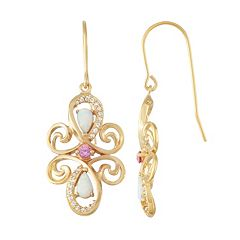 18k Gold Over Silver Gemstone Swirl Drop Earrings