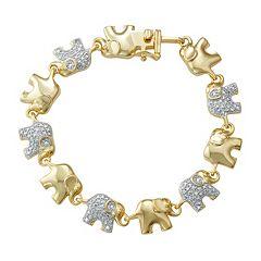 14k Gold Over Silver 1 10 Carat T W Diamond Elephant Bracelet