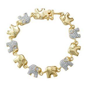 14k Gold Over Silver 1/10 Carat T.W. Diamond Elephant Bracelet