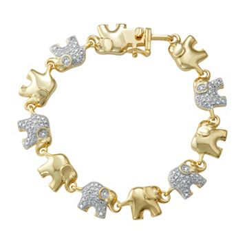 14k Gold Over Silver 1/10 Carat T.W. Diamond Elephant Bracelet