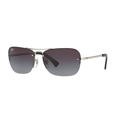 Ray-Ban Highstreet RB3541 61mm Semi-Rimless Rectangle Gradient Sunglasses