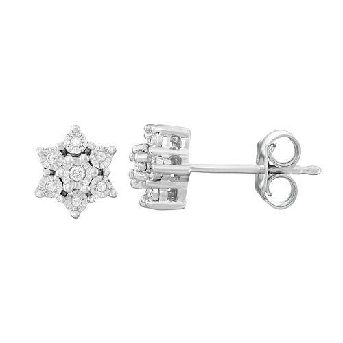 Sterling Silver Diamond Accent Star Stud Earrings