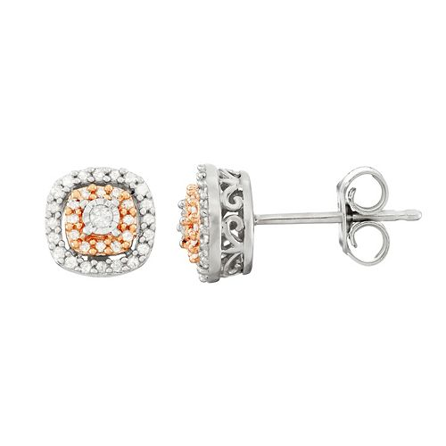 Two Tone Sterling Silver 1/5 Carat T.W. Diamond Square Halo Stud Earrings