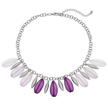 Purple Shaky Bead Ombre Fringe Necklace