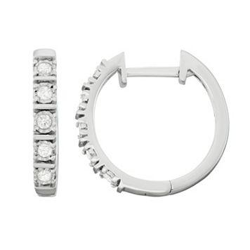 Sterling Silver 1/4 Carat T.W. Diamond Hoop Earrings