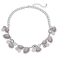 Purple Oval Cabochon Statement Necklace