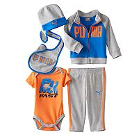 Baby Boy PUMA Bodysuit, Jacket, Pants, Hat & Bib Gift Set