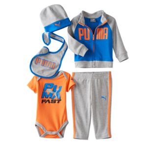 Baby Boy PUMA Bodysuit, Jacket, Pants, Hat & Bib Gift Set