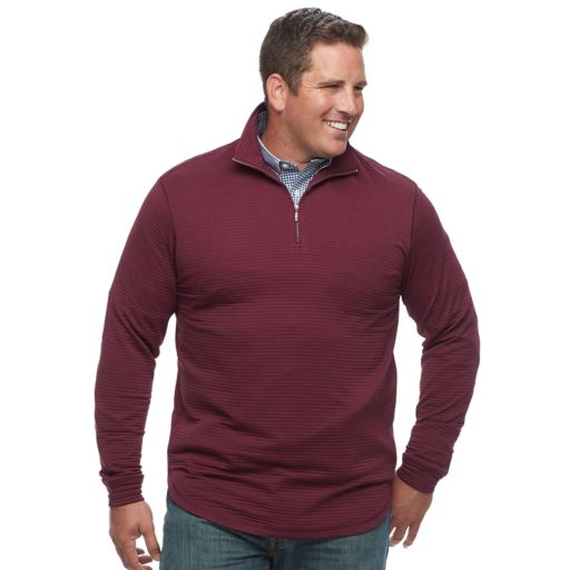 Big & Tall Haggar Marled Stretch Fleece Quarter-Zip Pullover