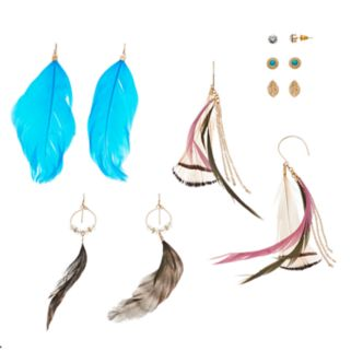 Mudd® Nickel Free Leaf Stud & Feather Drop Earring Set