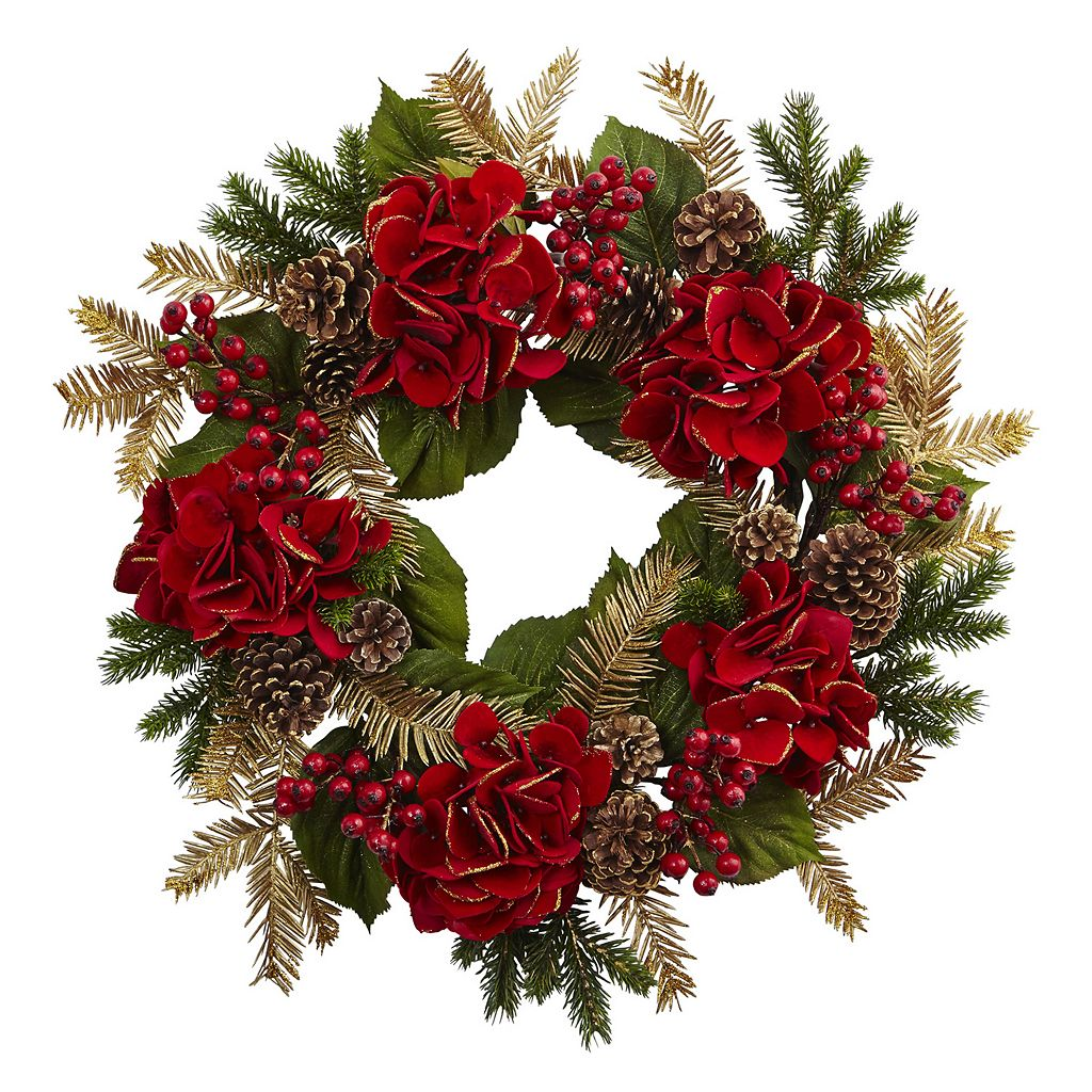 nearly natural Artificial Hydrangea Pine Wreath